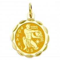 Engraveable Aquarius Zodiac Scalloped Disc Charm in 14k Yellow Gold
