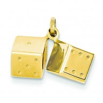 Dice Charm in 14k Yellow Gold