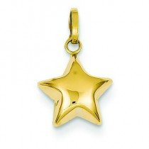 Puffed Star Charm in 14k Yellow Gold