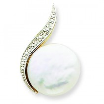 Diamond Cultured Pearl Pendant in 14k Yellow Gold