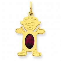 Girl Oval Genuine Garnet Jan in 14k Yellow Gold
