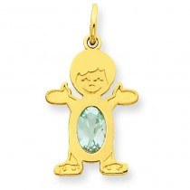 Boy Oval Genuine Aquamarine Mar in 14k Yellow Gold