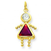 January Girl Birthstone Charm in 14k Yellow Gold