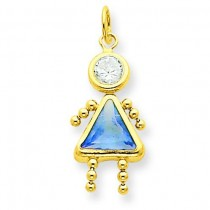 March Girl Birthstone Charm in 14k Yellow Gold