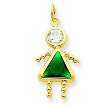 May Girl Birthstone Charm in 14k Yellow Gold