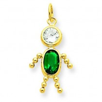 May Boy Birthstone Charm in 14k Yellow Gold