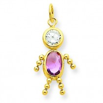 June Boy Birthstone Charm in 14k Yellow Gold