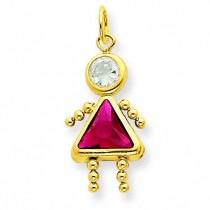 July Girl Birthstone Charm in 14k Yellow Gold