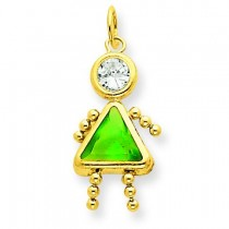 August Girl Birthstone Charm in 14k Yellow Gold