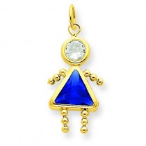 September Girl Birthstone Charm in 14k Yellow Gold