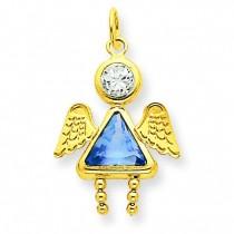 March Girl Angel Birthstone Charm in 14k Yellow Gold