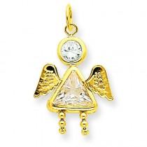 April Girl Angel Birthstone Charm in 14k Yellow Gold