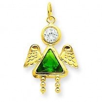 May Girl Angel Birthstone Charm in 14k Yellow Gold