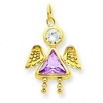 June Girl Angel Birthstone Charm in 14k Yellow Gold