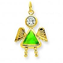 August Girl Angel Birthstone Charm in 14k Yellow Gold