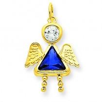 September Girl Angel Birthstone Charm in 14k Yellow Gold