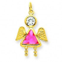 October Girl Angel Birthstone Charm in 14k Yellow Gold