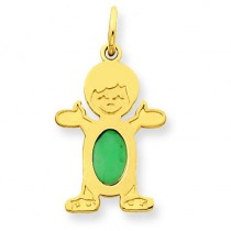 Boy Oval Genuine Emerald May in 14k Yellow Gold