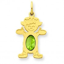 Girl Oval Genuine Peridot Aug in 14k Yellow Gold