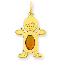 Boy Oval Genuine Citrine Nov in 14k Yellow Gold