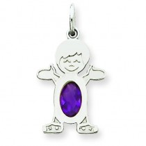 Boy Oval Genuine Amethyst Feb in 14k White Gold