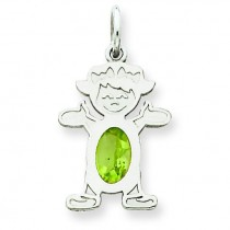 Girl Oval Genuine Peridot Aug in 14k White Gold