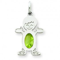 Boy Oval Genuine Peridot Aug in 14k White Gold