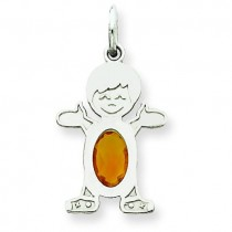 Boy Oval Genuine Citrine Nov in 14k White Gold