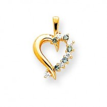 Blue Heart Pendant in 14k Yellow Gold