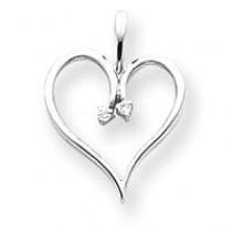 Diamond Heart Pendant in 14k White Gold
