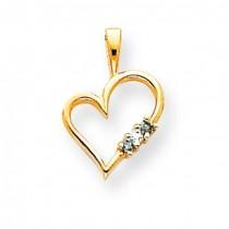 Blue Heart Pendant in 14k Yellow Gold