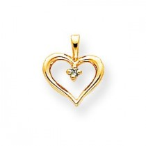Enhanced Blue Diamond Heart Pendant in 14k Yellow Gold