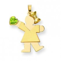 Girl CZ August Birthstone Charm in 14k Yellow Gold