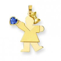 Girl CZ December Birthstone Charm in 14k Yellow Gold