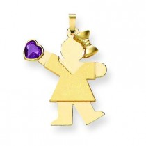 Girl CZ June Birthstone Charm in 14k Yellow Gold
