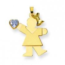 Girl CZ March Birthstone Charm in 14k Yellow Gold