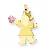 Girl CZ October Birthstone Charm in 14k Yellow Gold