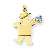 Boy CZ March Birthstone Charm in 14k Yellow Gold