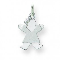 Mini Girl Charm in 14k White Gold