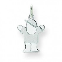 Mini Boy Charm in 14k White Gold