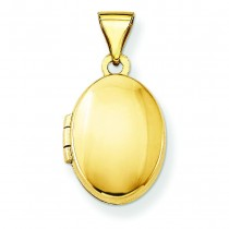 Plain Oval Locket in 14k Yellow Gold
