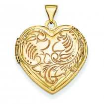 Domed Heart Locket in 14k Yellow Gold
