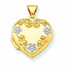 Heart Locket Flowers in 14k Yellow Gold