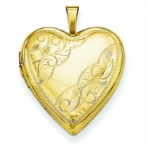 Side Swirl Heart Locket in 14k Yellow Gold