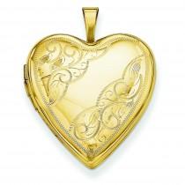 Side Swirl Heart Locket in 14k Yellow Gold
