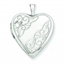 Side Swirl Heart Locket in 14k White Gold
