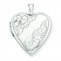 Side Swirl Heart Locket in 14k White Gold