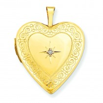 Side Swirls Diamond Heart Locket in 14k White Gold