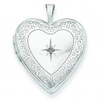 Side Swirls Diamond Heart Locket in 14k Yellow Gold