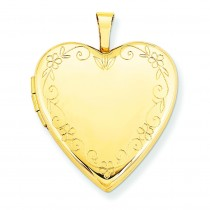 Flower Vine Border Heart Locket in 14k Yellow Gold